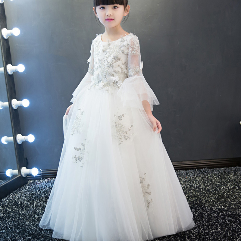 Children Bead Sequin Girls Wedding Dress Ankle-Length Appliques Kids Party Prom Dress For Girls First Communion Dresses E65Children Bead Sequin Girls Wedding Dress Ankle-Length Appliques Kids Party Prom Dress For Girls First Communion Dresses E65