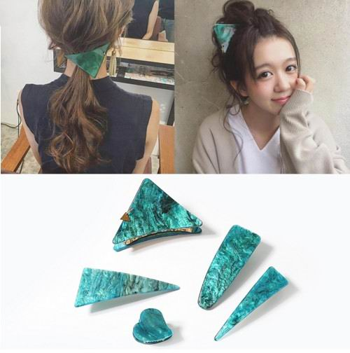 Japan Style Vintage Green Series Hairclips Geometric Triangle Heart Shape Hair Clips Hair Claws For Women Hair Accessories