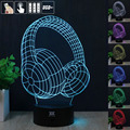 HUI YUAN Earphone 3D Night Light RGB Changeable Mood Lamp LED Light DC 5V USB Decorative Table Lamp Get a free remote control