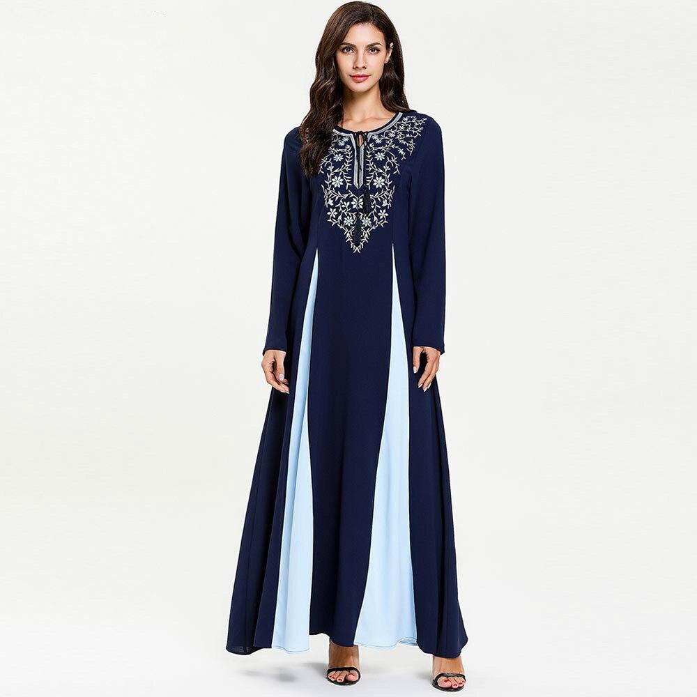 2019 printemps automne femme grande taille à manches longues robe musulmane col rond broderie Patchwork caftan Abaya Maxi dubaï robe Vestidos