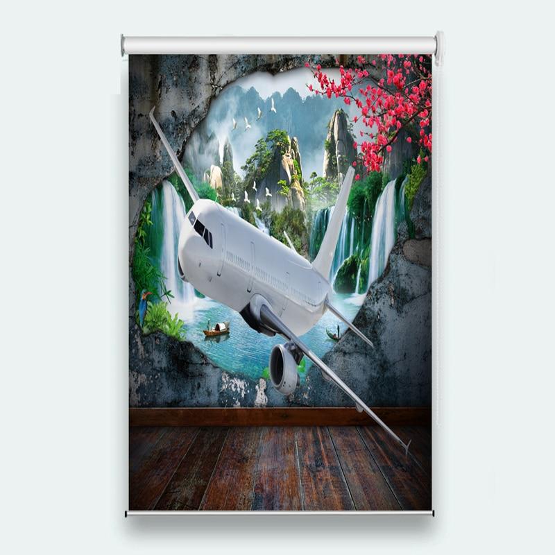 New Custom 3D Beautiful Sunshade shade waterproof pull curtain fly 3d curtains