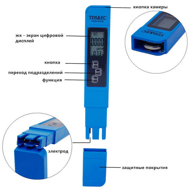 3 In1 TDS meter EC Tester LCD display Temperature pen Water Quality test  Measurement Tool for swimming pool 20% off