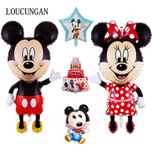 114CM Big Mickey Mouse Minnie Balloon Baby Shower Mini Head Mickey Balloon Stick Birthday Party Decorations Kids Children Gift(China)