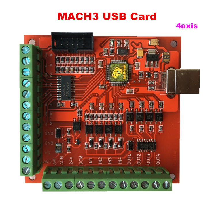 MACH3 USB Motion Controller card breakout board for CNC Engraving 4 Axis 100KHz 4 axis usb mach3 motion control card cnc controller card four axis breakout interface board for cnc router