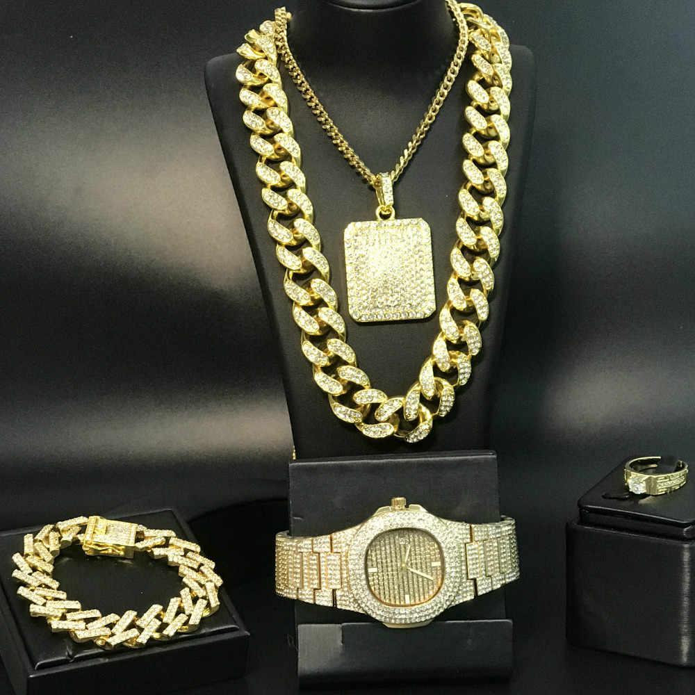 יוקרה גברים זהב שעון & שרשרת & תליון & צמיד & טבעת קומבו סט קרח החוצה קובני שרשרת שרשרת ראפר תכשיטי סט לגברים