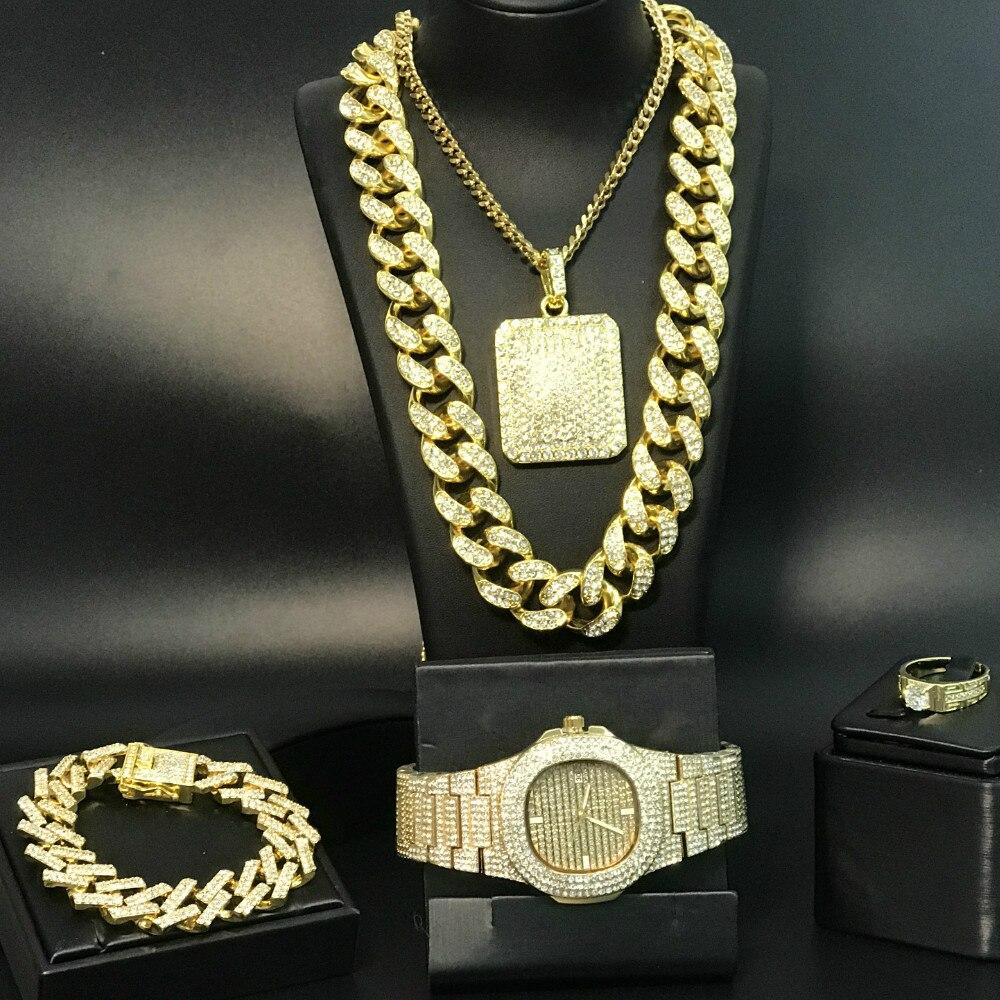 Luxury Gold Silver Color Men Watch & Necklace & Pendant & Bracelet & Ring Combo Set Ice Out Cuban Necklace Chain Hip Hop For Men