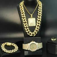 Luxury Men Gold Watch & Necklace & Pendant & Bracelet & ring Combo Set Ice Out Cuban Necklace Chain Hip Hop Jewelry Set For Men