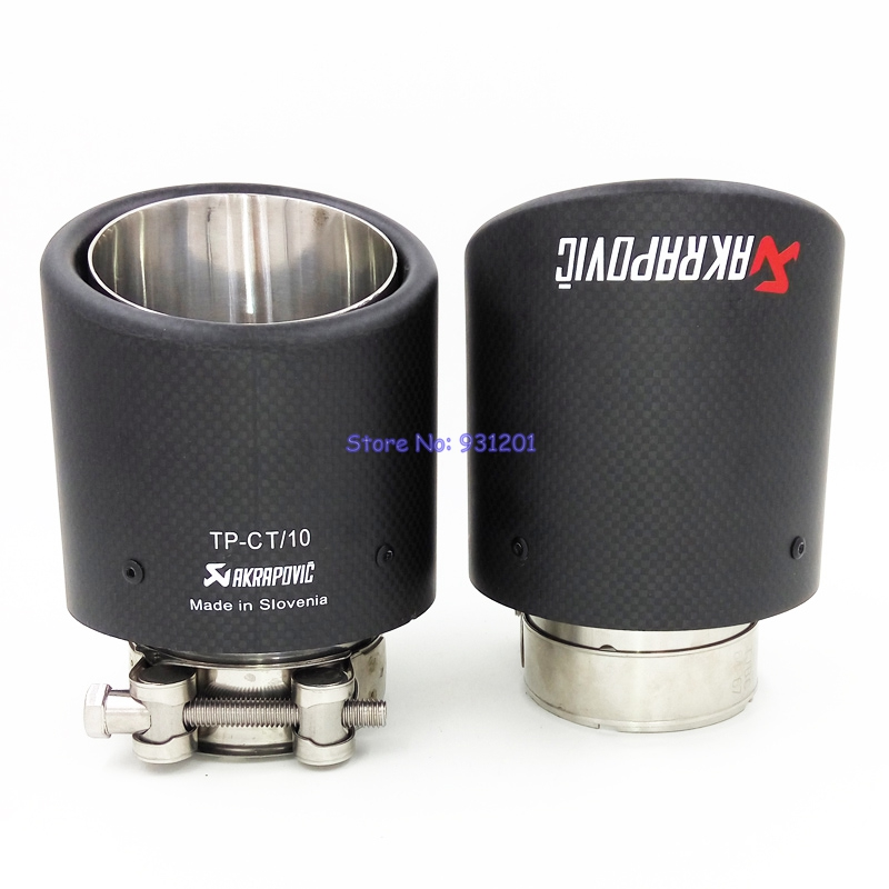 2PCS ID 51mm 54mm 57mm 60mm 63mm OD 101mm Customized Universal Akrapovic Carbon Fiber Exhaust Tip End Pipe Mufflers for Car