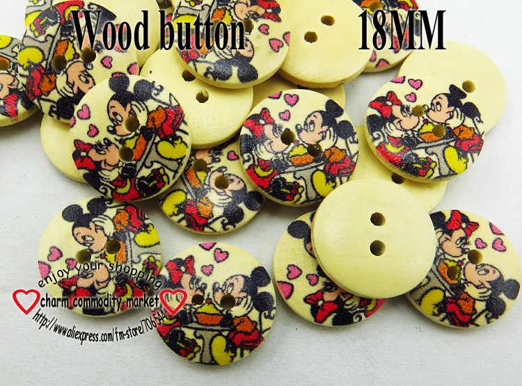 60 шт 18 мм цветочным узором с рисунком, деревянные пуговицы для шитья одежды сапоги Пальто аксессуары MCB-185