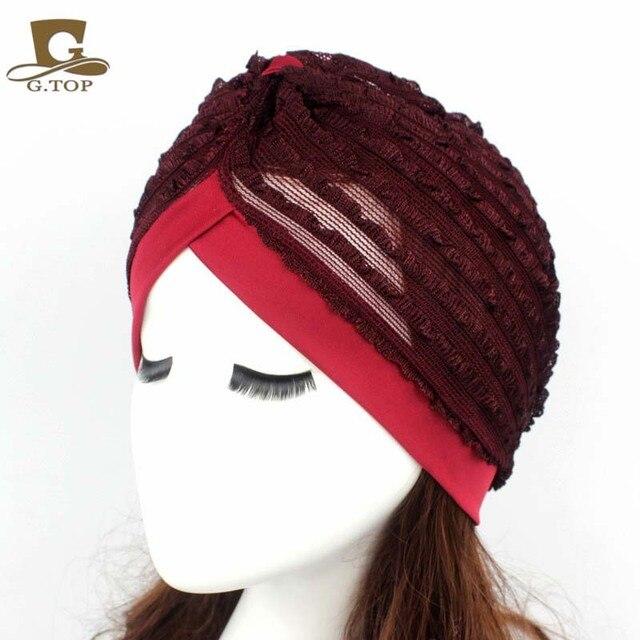 f8b6d814592 New Fashion Women Stretchy Lace Turban Head Wrap Band Chemo Bandana Hijab  Pleated Indian Cap Turbante