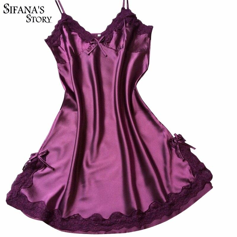Damen Sexy Seide Nachtwäsche Satin Nachthemd V-ausschnitt Nachthemd Slip Nachthemden Sommer Nacht Kleid Spitze Nachtkleid Dessous Für Frauen