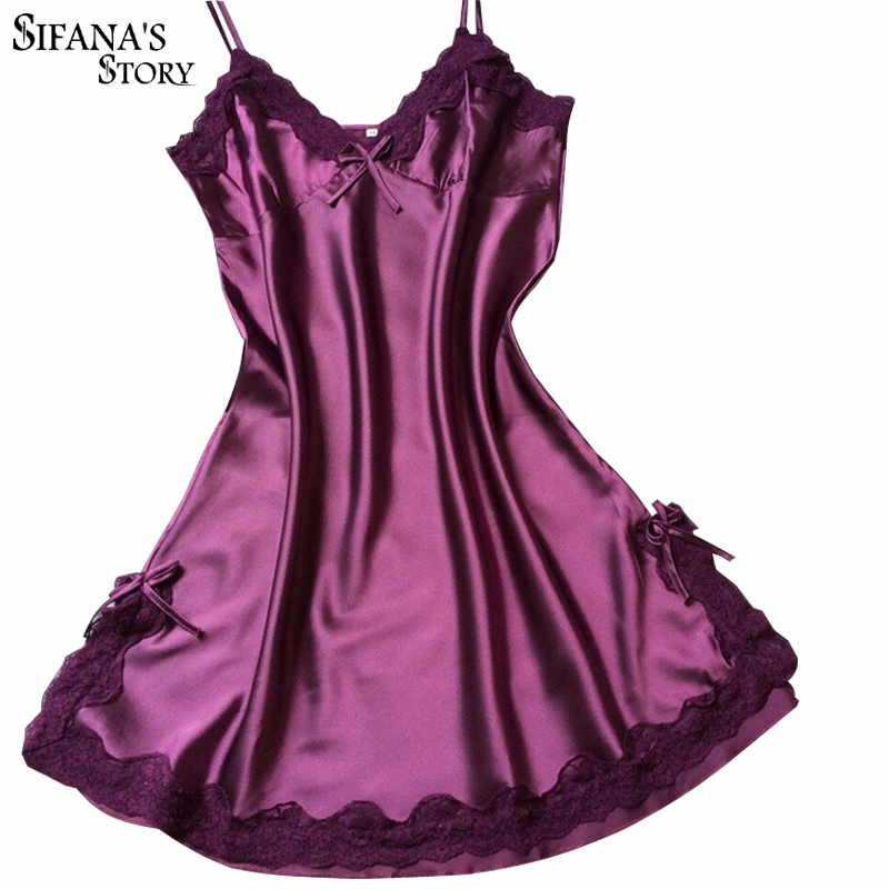 Senhoras Pijamas de Seda Sexy Camisola De Cetim Com Decote Em V Camisola Deslizamento Nighties Noite de Verão Vestido de Renda Vestido de Noite Vestido de Lingerie Para As Mulheres