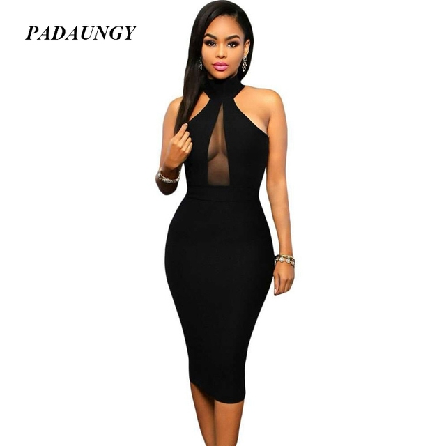 d6fd282898f US $24.67 |PADAUNGY Sexy Black Dresses Halter Sleeveless Bodycon Vestidos  Night Clubwear Backless Party Dress Mesh Joint Summer Robe Femme-in Dresses  ...