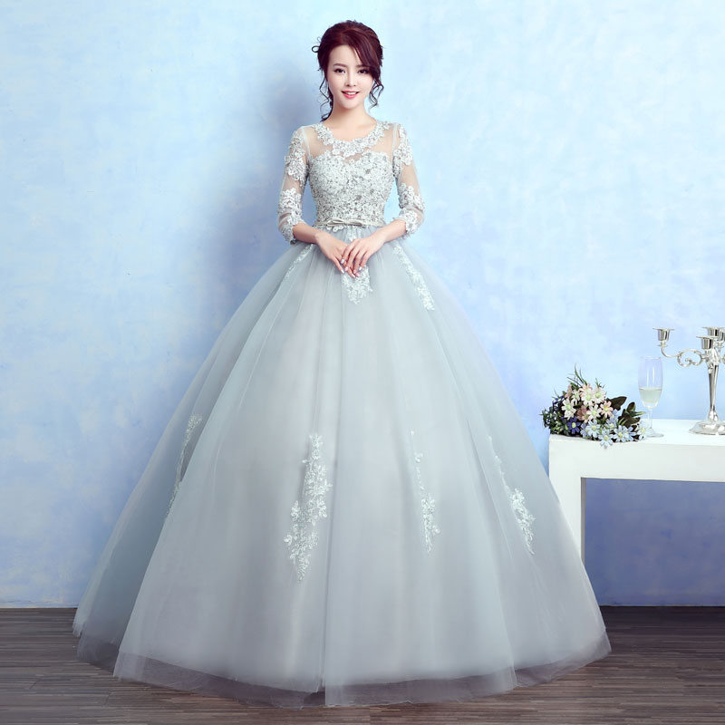 Buy light silver grey flower embroidery for Silver ball gown wedding dresses