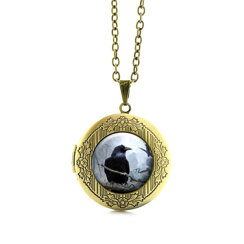 Ворон Стекло кулон Цепочки и ожерелья жуткий черный птица ворона фото, ювелирное изделие, подарок в готическом стиле Хэллоуин Кулон в виде птицы кулон подарок на праздник, N524