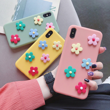matte silicone 3d candy color flower case for Huawei y5 y6 y7 prime y3 y9 2018 2017 2019 ii 2 soft TPU back cover fundas capa