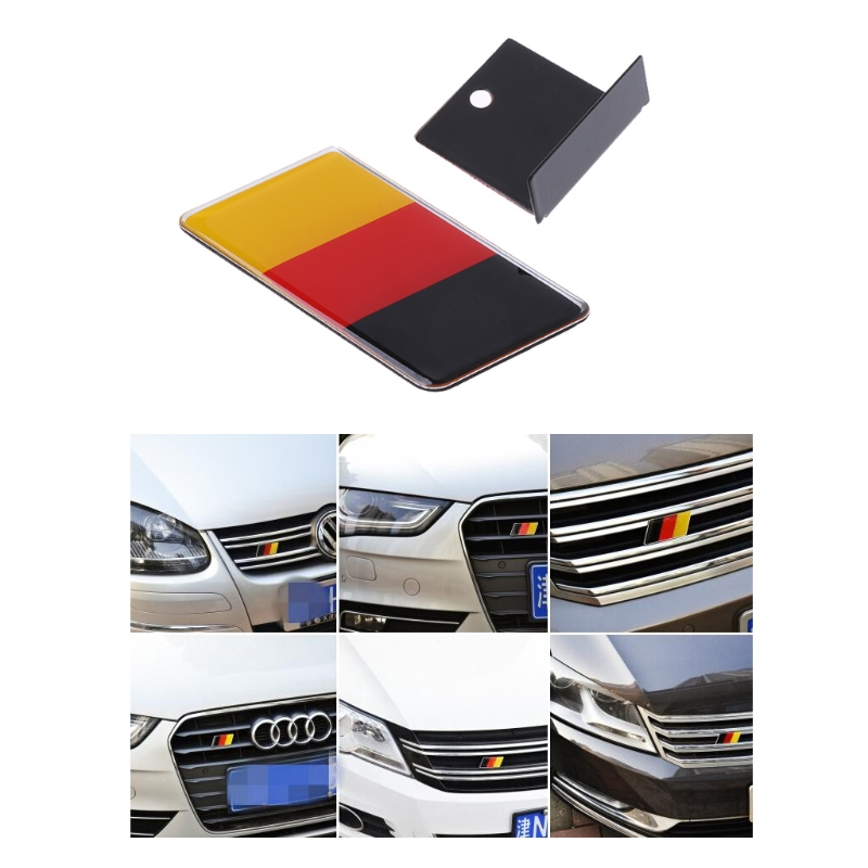 German Flag Grille Emblem Badge <font><b>For</b></font> Volkswagen Scirocco <font><b>GOLF</b></font> 7 <font><b>Golf</b></font> <font><b>6</b></font> Polo <font><b>GTI</b></font> <font><b>VW</b></font> Tiguan <font><b>for</b></font> Audi A4 A6 Car <font><b>Accessories</b></font> 1pc image