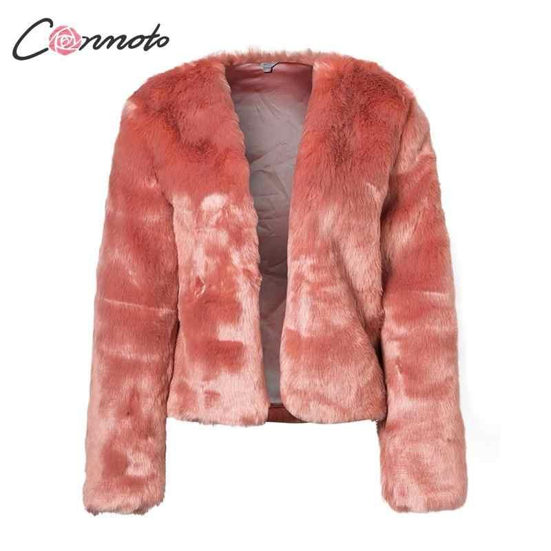 Conmoto/зимние пальто из искусственного меха для женщин, кардиган, Shaggy, повседневное однотонное пальто, модные теплые куртки из искусственного меха