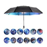 Новинка 12 Созвездие Знак Сверхлегкий маленькое путешествие Портативный зонтик для Для женщин Для мужчин Три складной черное покрытие зонт...