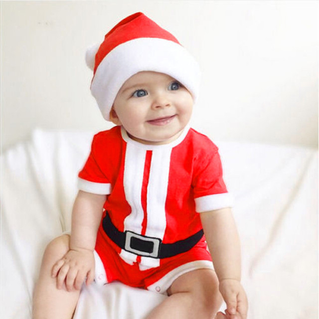 3ba71f0cd6ce Newborn Baby Girl Boy Christmas Costume Santa Claus Hat Romper ...