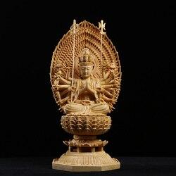 Статуя Будды с резьбой по Японии Гуаньинь и богиня «Тысяча рук» Западная троица из цельного дерева фэн-шуй Буда статуи для декораций
