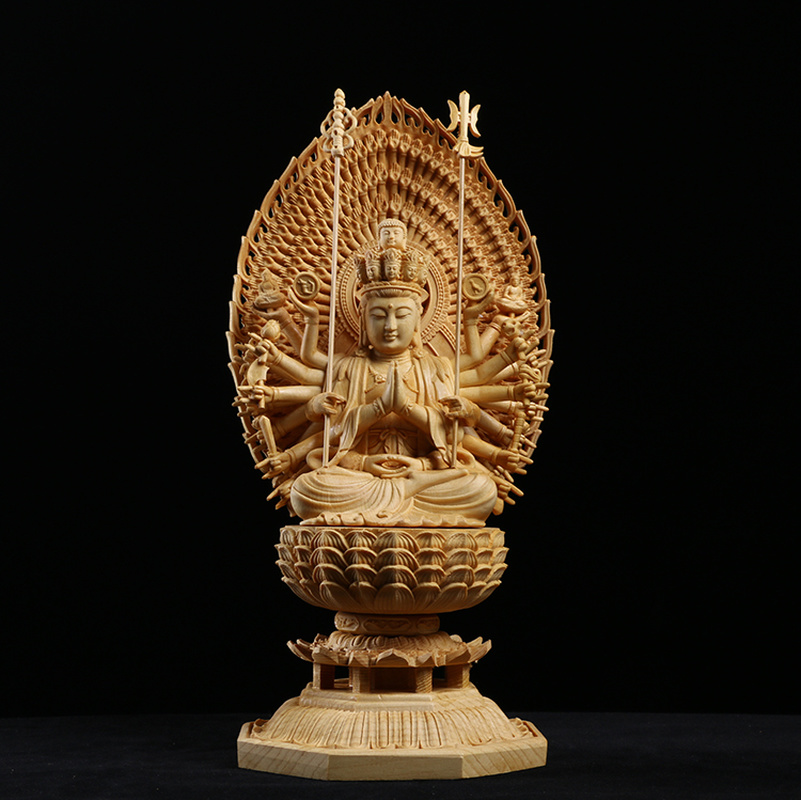 Japan Carving Buddha Statue Guanyin And The Thousand Arms Goddess Western Trinity Solid Wood Feng Shui Buda Statues For Decors