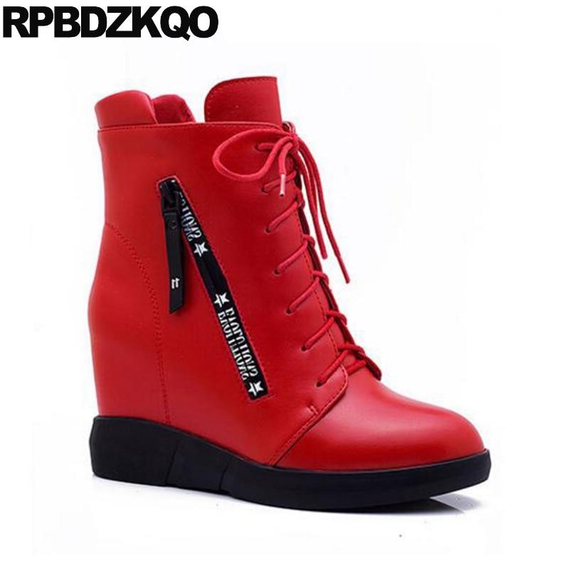 30d5dbbc Arriba Corto Para Cuña Black Plush Alto Redonda Caer Chino Señoras red Rojo  Impermeable Nuevo Moda Botines Altura Femenino 2017 Punta Cremallera ...