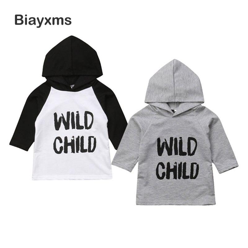Boys Long-Sleeve Tops T-Shirts Autumn Baby-Boys-Girls Children's Kid WILD Hooded D15