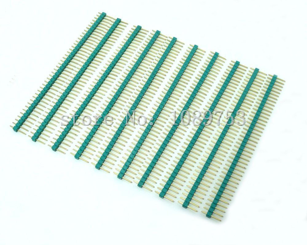 100pcs 2.54mm 1x40Pin Green Single Row Straight Male Pin Header Gold-plated High quality ...