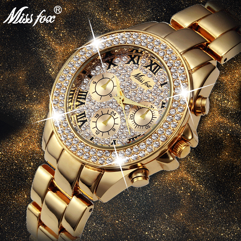 MISSFOX Women Watches Classic Roman Numbers Fake Multiple Time Zones Quartz Watch Women Fashion Casual Gold Bling Ladies Watch