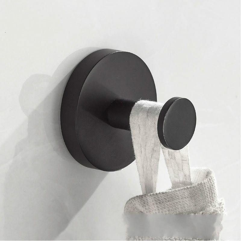 Aço inoxidável preto Fosco acessórios do banheiro de toalha gancho fixado na parede cabide Rodada boby conjunto moderno do vintage
