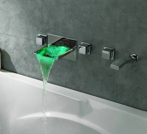 Wall Mounted Color Changing Waterfall Faucet Set Chrome Bathroom Sink LED Tub JN6603  -  ross christian's store store