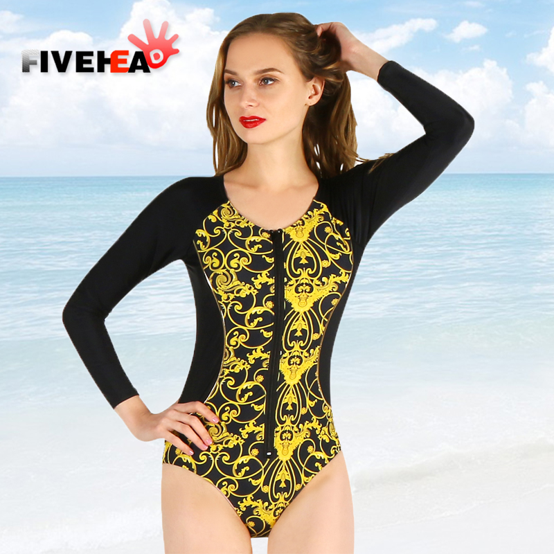 one-piece women swimwear sexy long sleeves printed solid color flower printed large size bathing swimsuit push up female women one piece triangle swimsuit cover up sexy v neck strappy swimwear dot dress pleated skirt large size bathing suit 2017