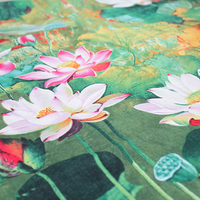 Jade Lotus Waterproof Fabric Cloth Curtain Cloth Home Furnishing Pillow Bedding Fabric Cotton Fabrics