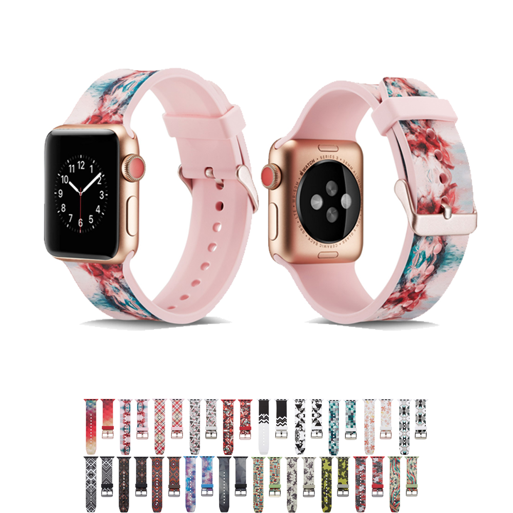 Silicone strap for apple watch band 44mm/42mm/38mm/40mm iwatch 4 band Printing bracelet rubber watchband for apple watch 4 3 2 1Silicone strap for apple watch band 44mm/42mm/38mm/40mm iwatch 4 band Printing bracelet rubber watchband for apple watch 4 3 2 1