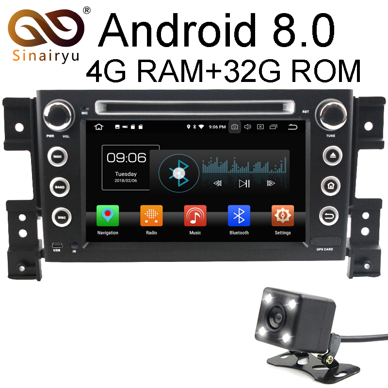 Sinairyu 4GB RAM Octa Core Android 8.0 Car DVD GPS Player For SUZUKI Grand Vitara Grand Nomade 2006 2007 2008 2009 2010 2011 цена