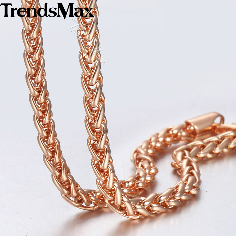 Trendsmax 4mm 585 Rose Gold Necklace For Women Men Wheat Spiga Link Chain Necklace Fashion Jewelry Gifts 45cm-60cm GN255 45cm l pure rose gold chain necklace italy wheat chain necklace 4g hot sale