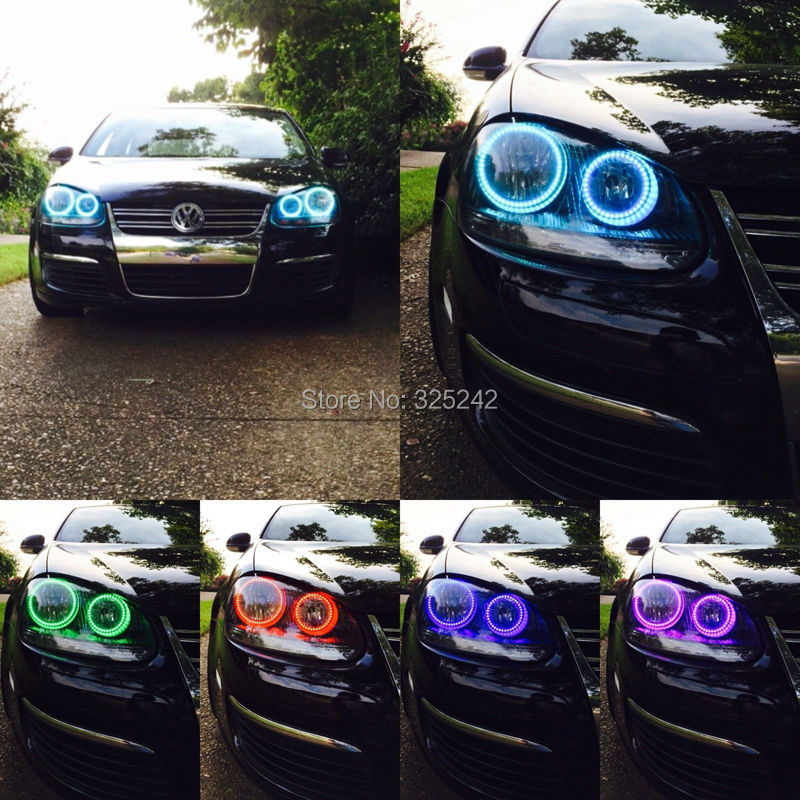 ФОТО For Volkswagen VW Sagitar 2006 2007 2008 2009 2010 Excellent Angel Eyes Multi-Color Ultrabright RGB LED angel eyes Halo Ring kit