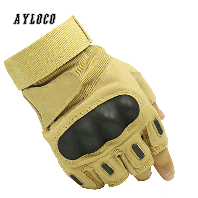 Military Fingerless Gloves Hard Knuckle Half Finger Tactical Gloves Army Paintball Airsoft Gear Shooting Combat Bicycle Gloves
