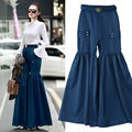 2017 Early Spring New Women's Fashion Wide Leg Trousers European Station Fashion Belt Fold Wide Leg Solid Color Trousers