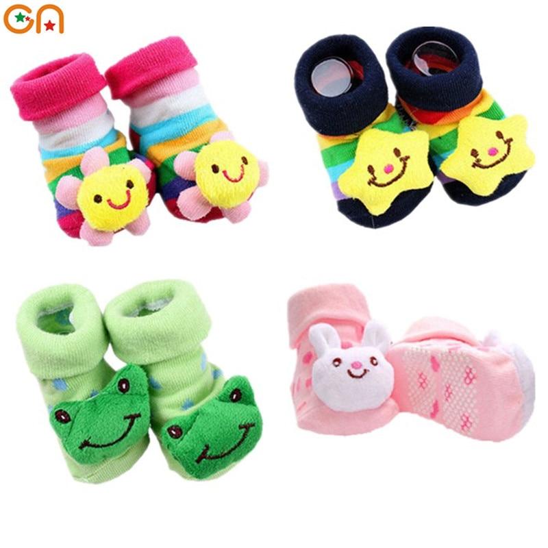0 - 18 mėn. Kūdikių mados medvilnės kojinės Kūdikiai Mieli Šilti Cartoon Stereo kojinės Vaikai Mokymas vaikščioti Anti-skid kids