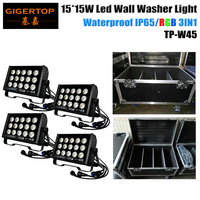 TIPTOP Stage Light 4IN1 Flight Case Pack Wide LED Bar Uplighting Wall Washer Disco DJ Lighting 15x15W RGB 3 IN 1 Led Flood Light