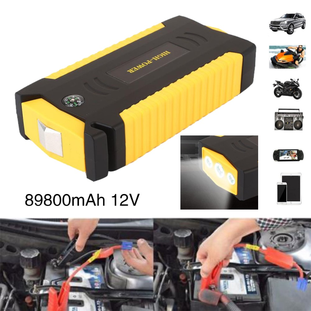 Vehemo Battery  89800mAh Car Jumper Starter Emergency Power Bank Power Pack Booster Charger Car 4 USB US/EU/UK/AU Plug autoeye cctv camera power adapter dc12v 1a 2a 3a 5a ahd camera power supply eu us uk au plug