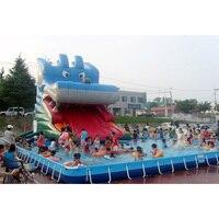 Коммерческих гигантский ПВХ надувные слайд с большой бассейн для развлечения от Шанхайский завод