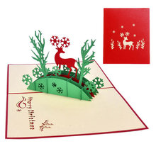 christmas greeting card 3d stereo deer paper card for wedding invitations letter christmas new years gretting