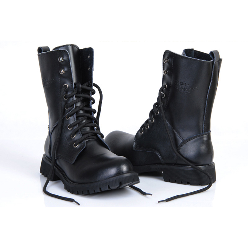 Genuine Leather Men Military Boots Men's Motorcycle Riding Hunting - Men's Shoes - Photo 2