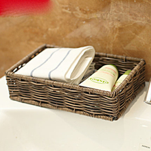 Bathroom bathroom storage box dressing table cosmetic basket waterproof imitation rattan washing finis