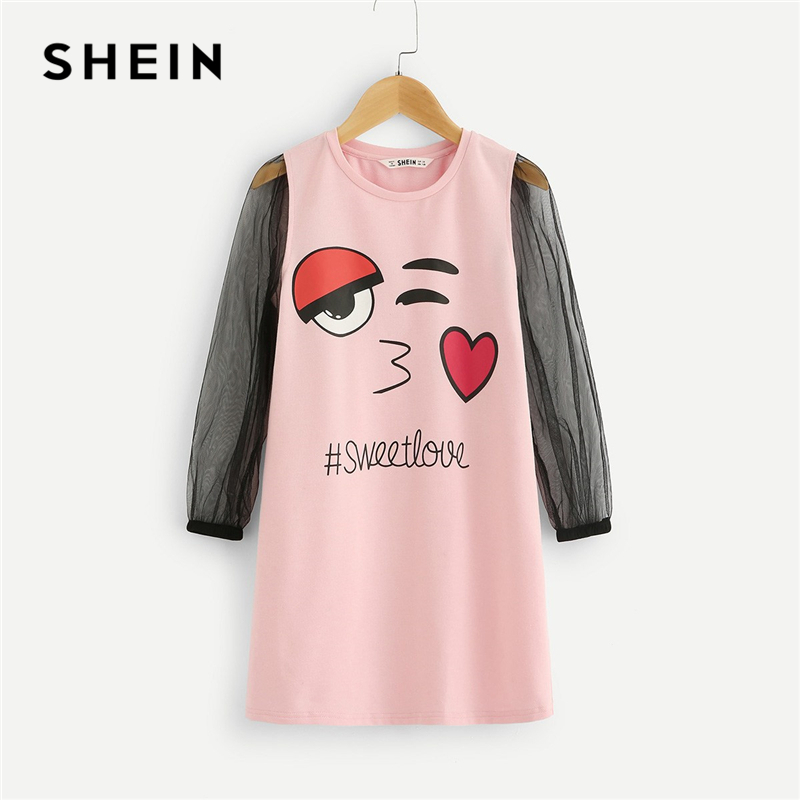 SHEIN Kiddie Girls Pink Mixed Print Tunic Casual Dress Children Clothes 2019 Spring Fashion Yellow Mesh Long Sleeve Short Dress