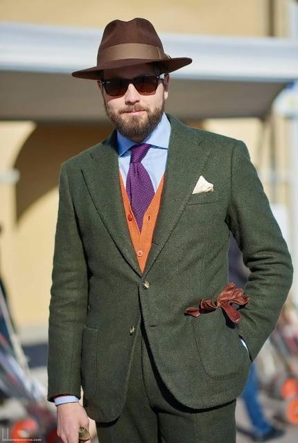 2018 Latest Coat Pant Designs Green Tweed Suit Men Slim Fit Winter Tuxedo Prom Blazer Gentle Style Tailored 2 Piece Terno we