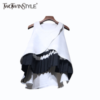 TWOTWINSTYLE Patchwork Ruffle Top Female Blouse Sleeveless A Line Women S Shirt Casual Clothes Korean Large